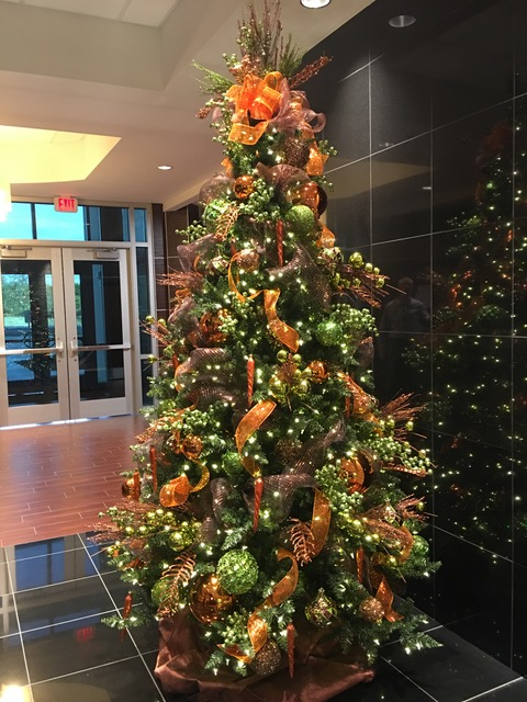Christmas tree with orange decorations