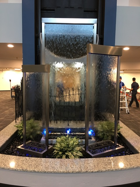 interior water feature with plants and rocks